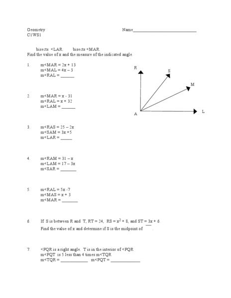 Bisectors of Angles Worksheets Angle Bisectors 10th Grade