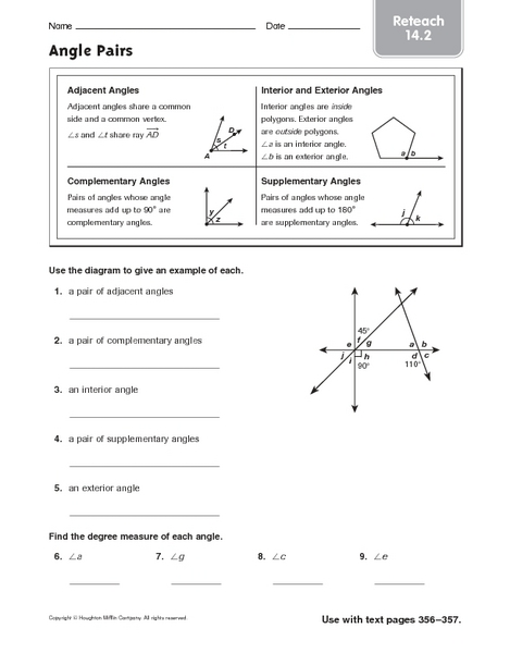 Printables Angle Pairs Worksheet angle pairs reteach 14 2 4th 5th grade worksheet lesson planet