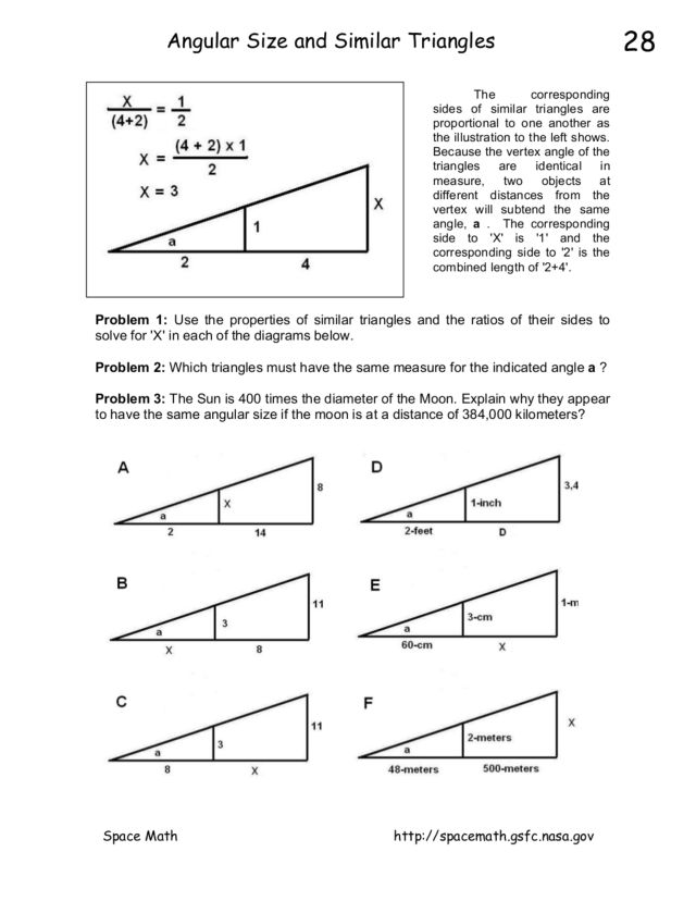 Angular Size and Similar Triangles 8th - 10th Grade Worksheet ...