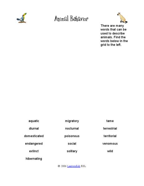 Animal Behavior Worksheet - Worksheets