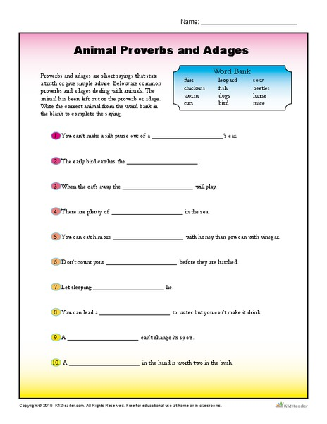 Animal Proverbs and Adages 4th - 5th Grade Worksheet | Lesson Planet