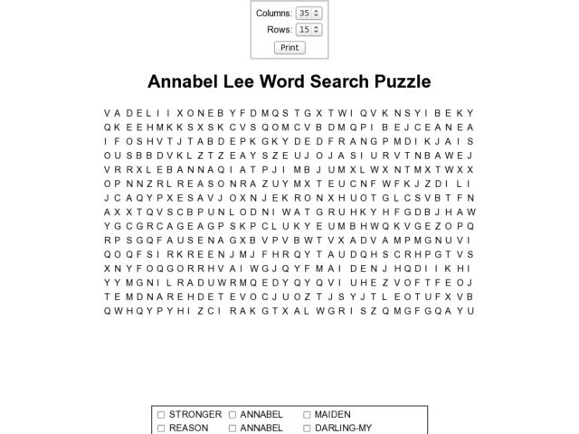 Annabel Lee Word Search 9th - 10th Grade Worksheet   Lesson Planet