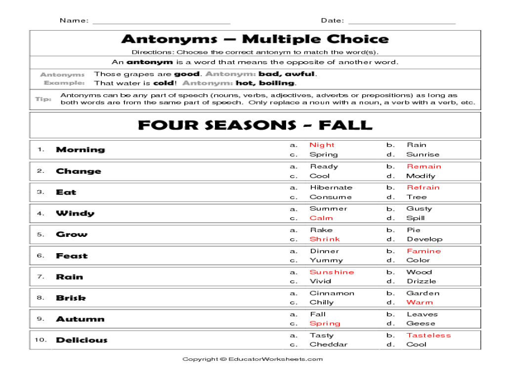 Worksheet Antonyms Worksheets For 5th Grade antonyms four seasons fall 3rd 4th grade worksheet lesson planet
