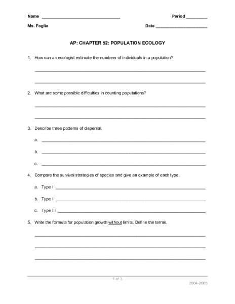 Printables Ecology Worksheets ap chapter 52 population ecology 9th 12th grade worksheet lesson planet