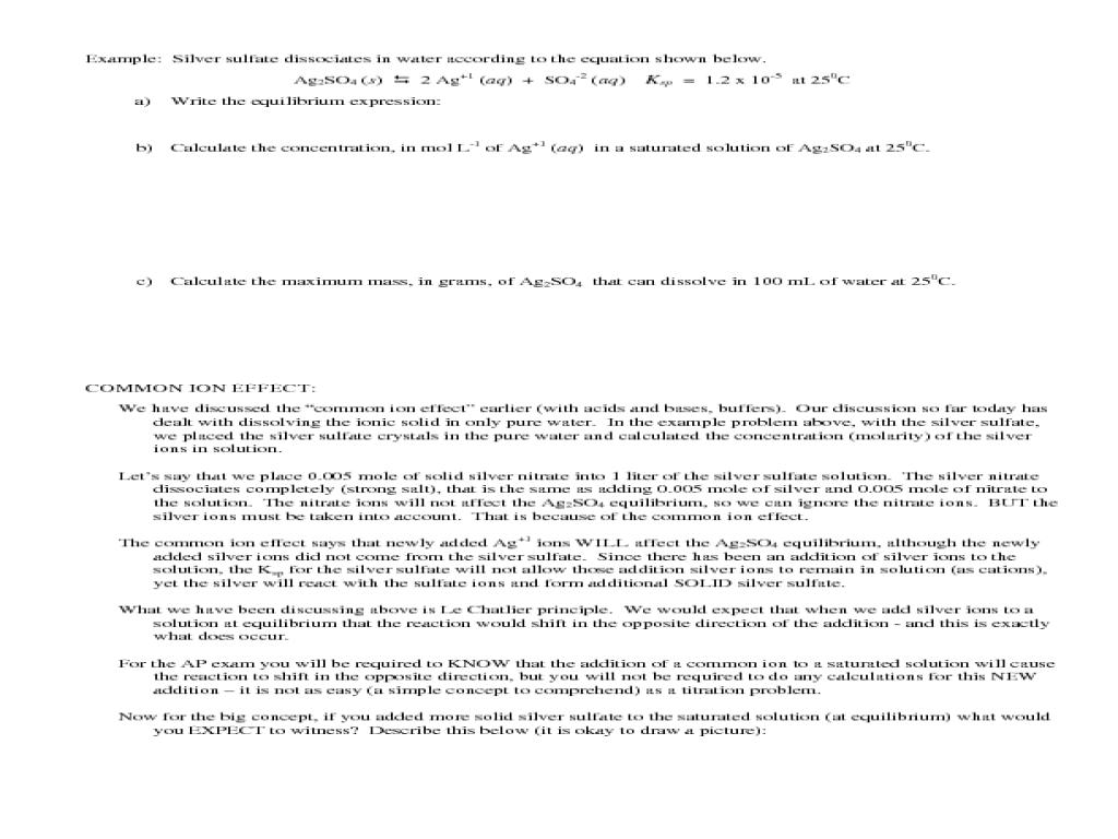 Ap Chemistry Solutions Worksheet - Worksheets