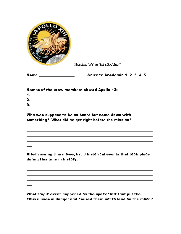 Apollo 13 Worksheet Answers - Worksheets