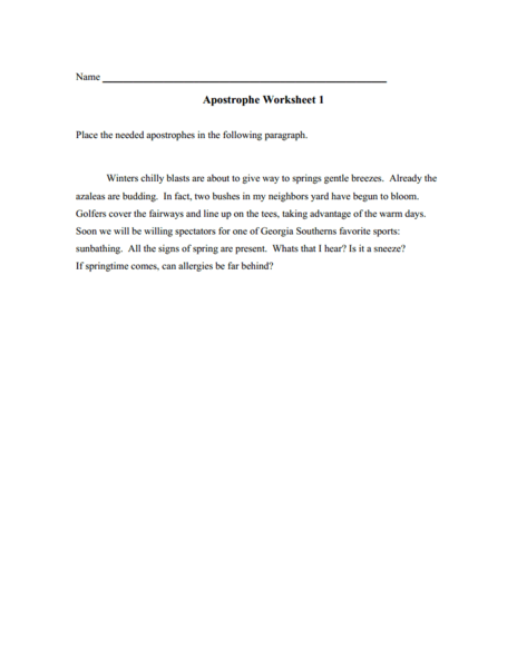 Apostrophes 2nd - 3rd Grade Worksheet   Lesson Planet