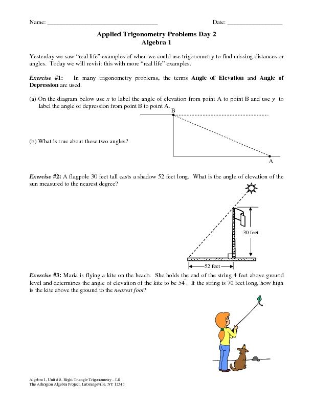 Trig Problems Worksheet - Davezan