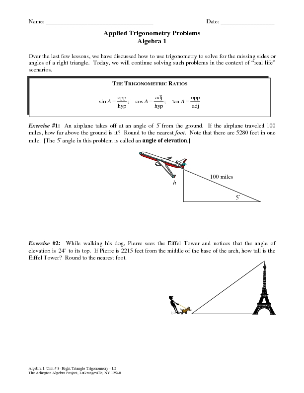 Worksheets Trig Word Problems Worksheet applied trigonometry problems 9th 12th grade worksheet lesson planet