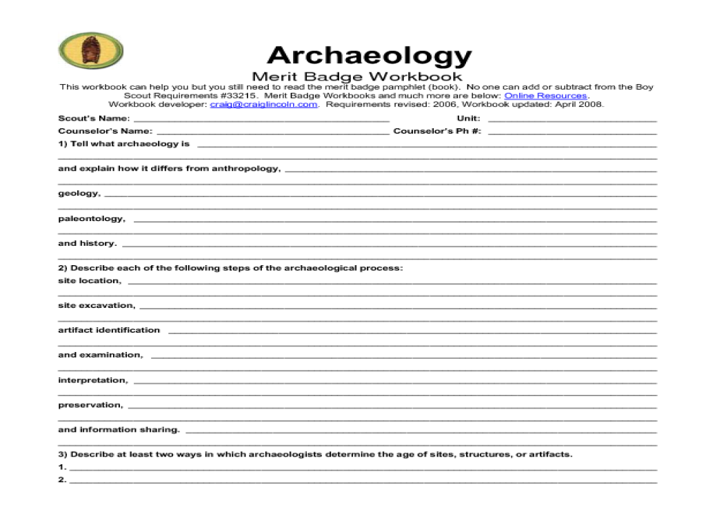 Environmental Science Merit Badge Worksheet. Precommunity ...