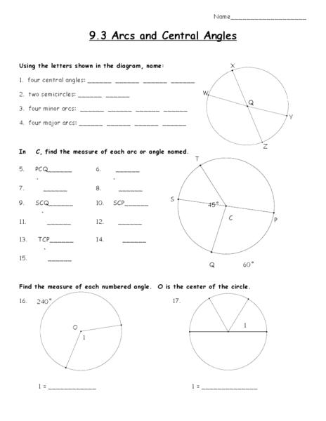 Alfa img - Showing u0026gt; Arc Measure Worksheet