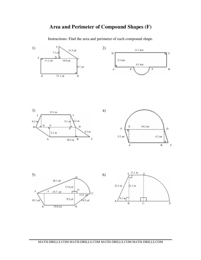 ... Worksheet 7th Grade: Area And Perimeter Of Compound Shapes F 6th 10th