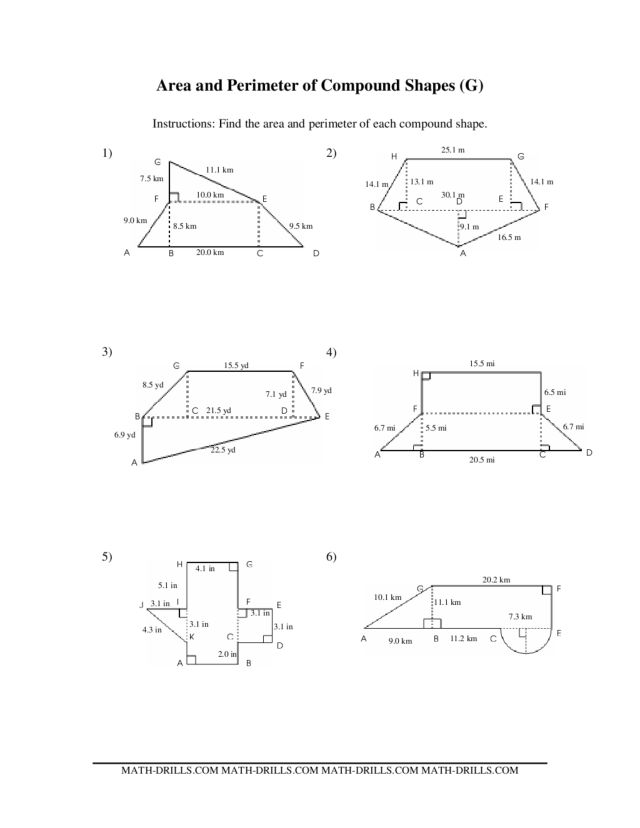 Worksheets Area Of Irregular Figures Worksheet area and perimeter of compound shapes 7th 9th grade worksheet lesson planet