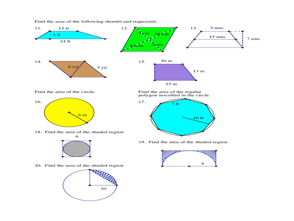 Area of 2D Shapes 9th 12th Grade Worksheet – Area of Shaded Region Worksheet