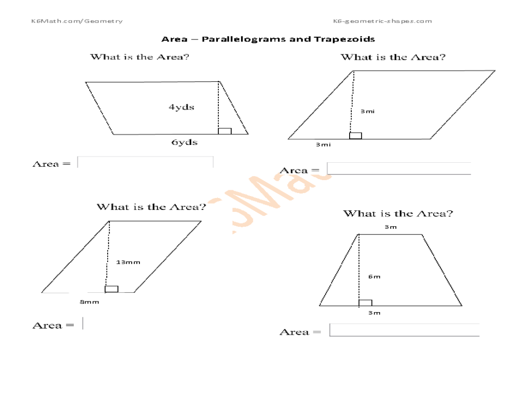 Printables Area Of A Trapezoid Worksheet area parallelograms and trapezoids 4th 6th grade worksheet lesson planet