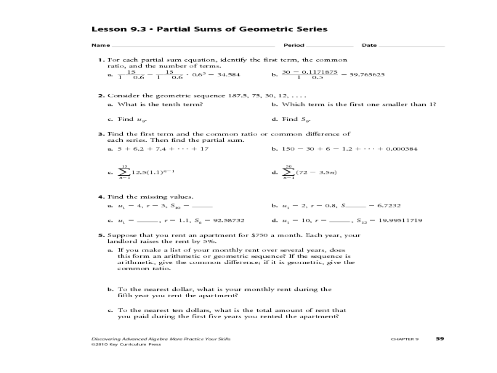 Geometric Sequence And Series Worksheet Deployday – Arithmetic Sequence Worksheet Algebra 1