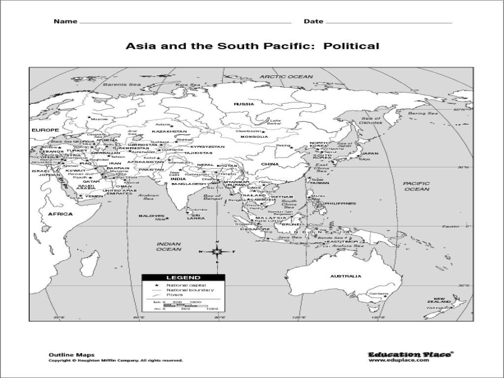 Asia and the South Pacific: Political Map 5th - 12th Grade ...