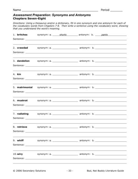 Bud not buddy vocabulary worksheets