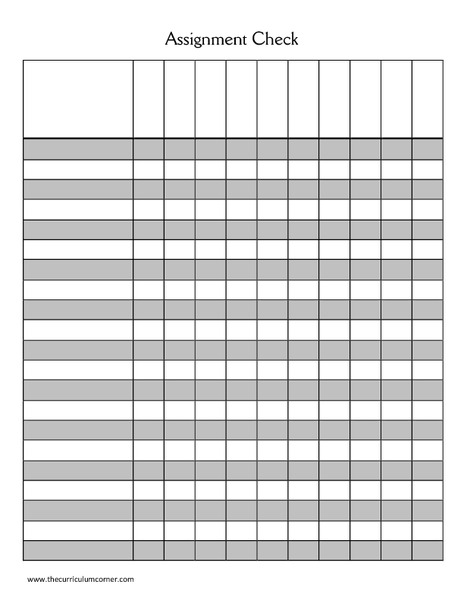 Free Worksheets » Printable Assignment Sheet - Free Math ...