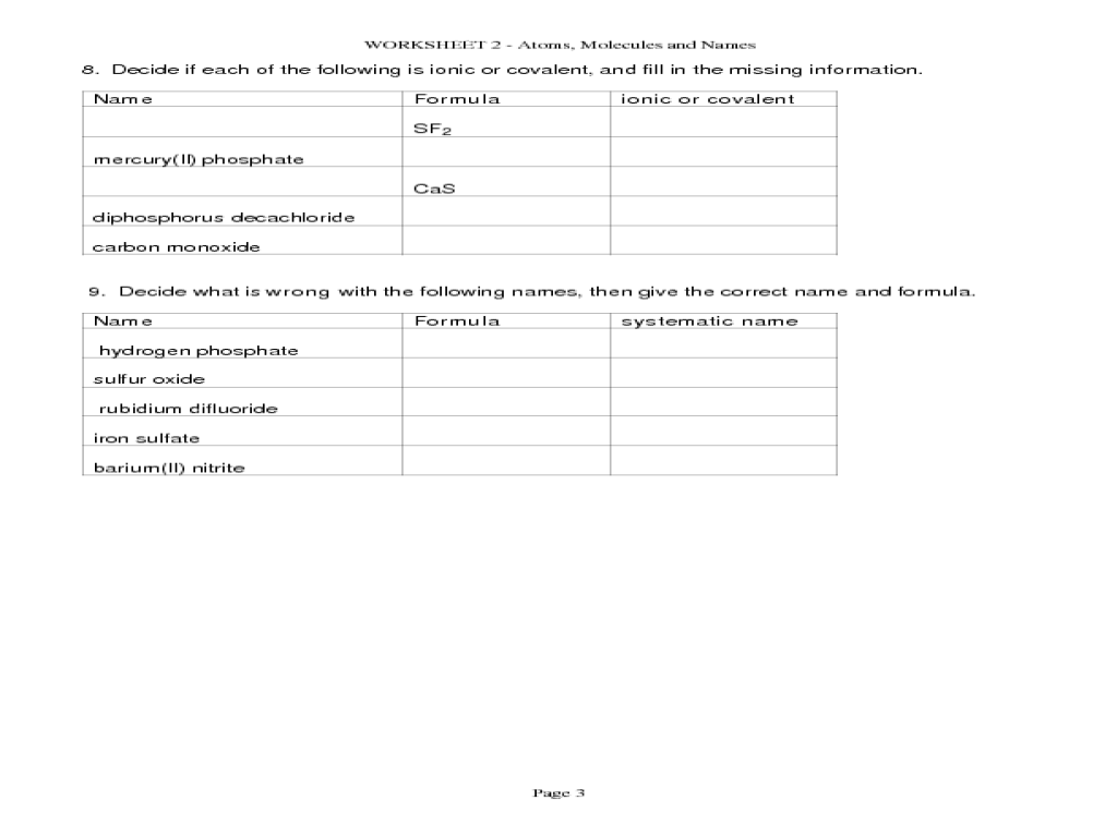 Printables Atoms And Molecules Worksheet atoms and molecules worksheet syndeomedia