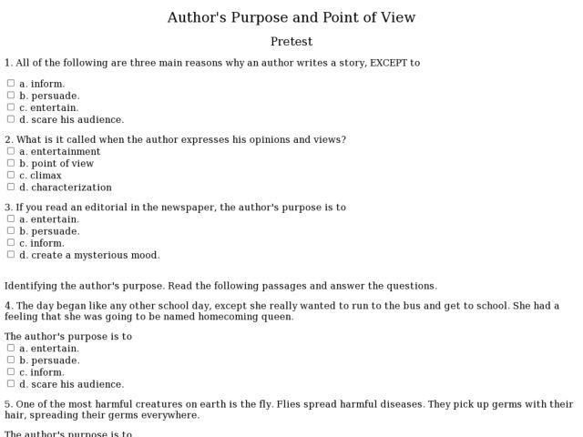 Point Of View Worksheet – Point of View Worksheets