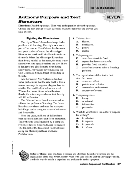 Printables Text Structure Worksheets 5th Grade authors purpose and text structure 4th 5th grade worksheet lesson planet