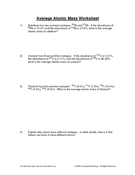 Worksheets Atomic Mass Worksheet average atomic mass worksheet 9th 12th grade lesson planet