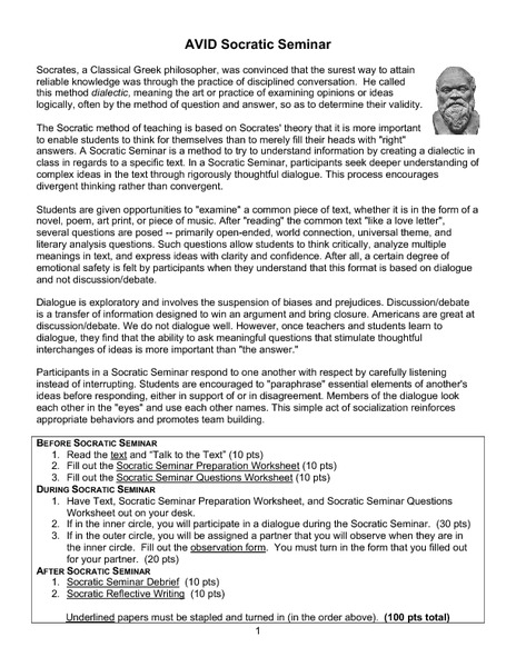 AVID Socratic Seminar 6th - 12th Grade Worksheet | Lesson Planet