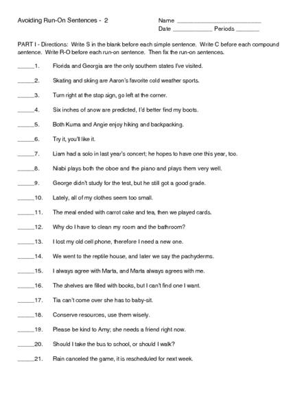 run on sentence worksheet - Termolak