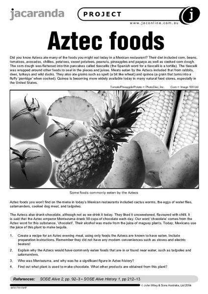 Aztec Food 8th - 12th Grade Worksheet | Lesson Planet