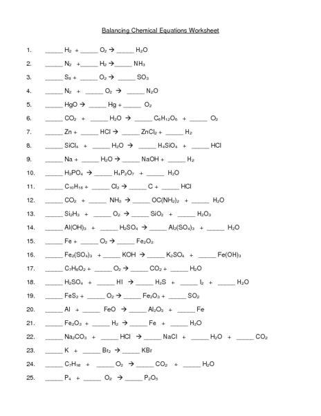 Balancing Chemical Equations Worksheet 11th - 12th Grade Worksheet ...