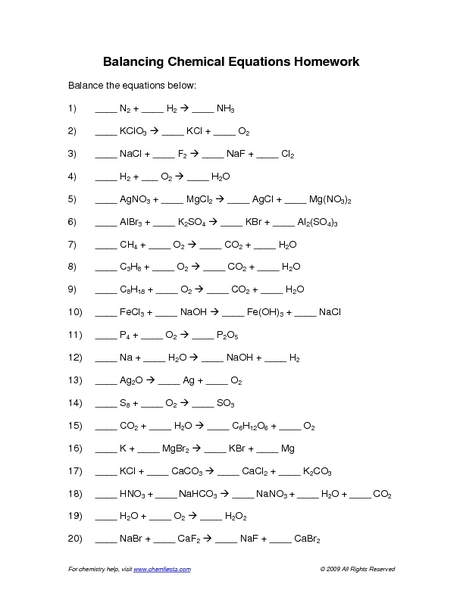 Worksheets Chemical Equations Worksheet balancing chemical equations worksheet answer key 7 10th higher ed lesson