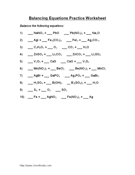 Balancing equations practice worksheet chemfiesta answers