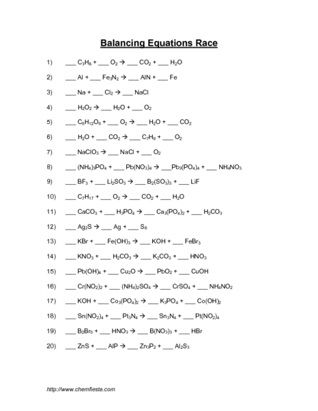 Worksheets Balancing Equations Answers balancing equations race 10th 12th grade worksheet lesson planet
