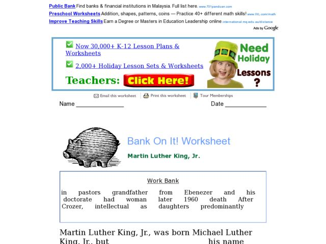 Bank On It! Martin Luther King, Jr. 4th - 5th Grade Worksheet ...