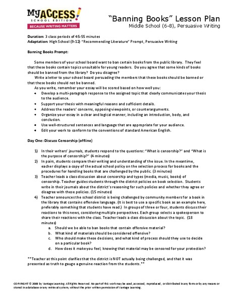 thesis statement lesson plan middle school