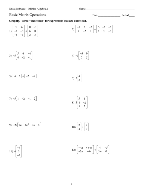 Worksheet Matrix Worksheets basic matrix operations 9th 10th grade worksheet lesson planet