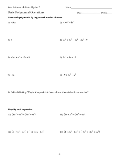 Pictures Operations On Polynomials Worksheet - Studioxcess