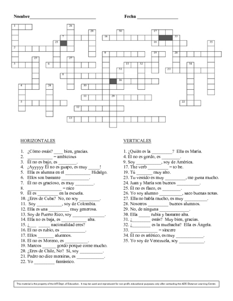 graphic regarding Printable Spanish Crossword Puzzle referred to as Spanish Term Puzzles Overseas Language Phrase Puzzles Cost-free