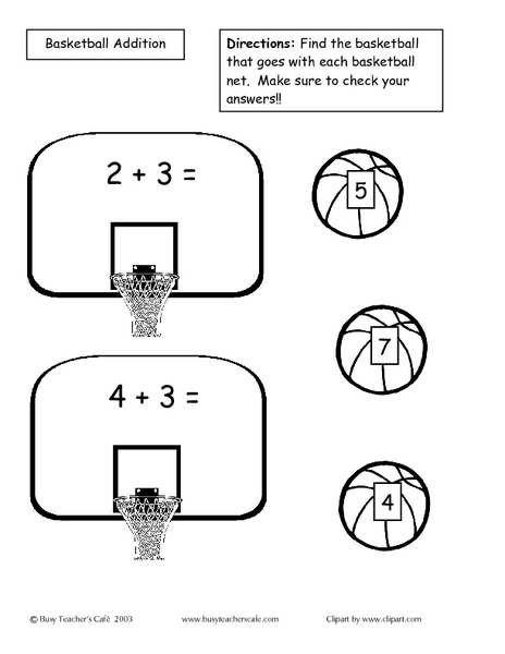 math worksheet : basketball addition 2nd  3rd grade worksheet  lesson pla  : Basketball Math Worksheets
