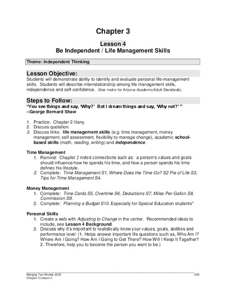 Worksheets Life Management Skills Worksheets be independent life management skills 9th 12th grade worksheet lesson planet