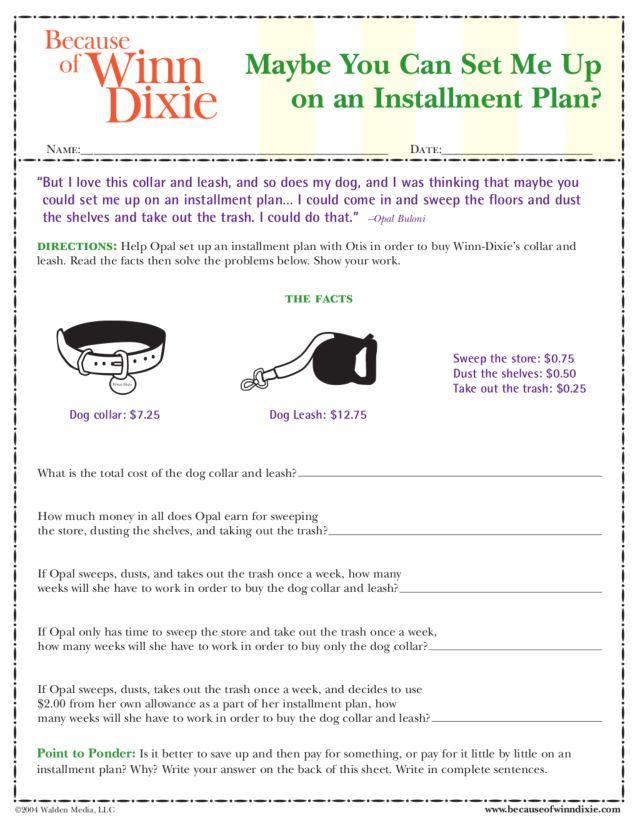 Printables Because Of Winn Dixie Worksheets because of winn dixie activity 4th grade worksheet lesson planet