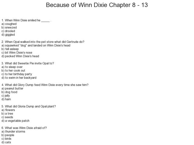 Printables Because Of Winn Dixie Worksheets because of winn dixie chapter 8 13 3rd 5th grade worksheet lesson planet