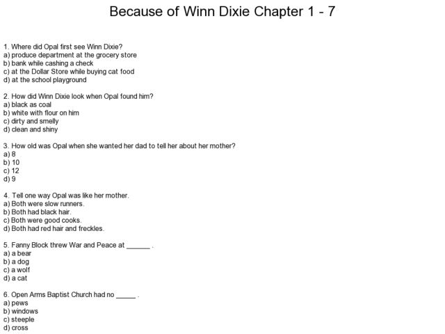 Printables Because Of Winn Dixie Worksheets because of winn dixie chapters 1 7 comprehension 4th 6th grade worksheet lesson planet