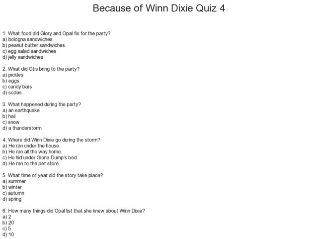 Printables Because Of Winn Dixie Worksheets because of winn dixie quiz 4 2nd 3rd grade worksheet lesson planet