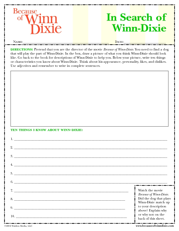 Printables Because Of Winn Dixie Worksheets because of winn dixie 2nd 3rd grade worksheet lesson planet