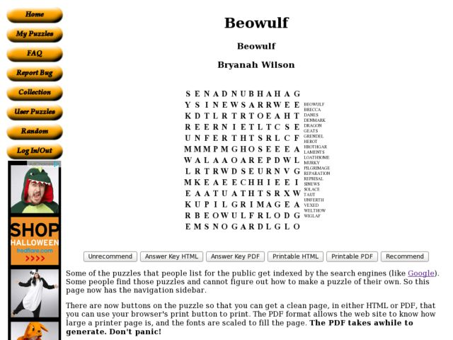 Printables Beowulf Worksheets beowulf word search 7th 9th grade worksheet lesson planet
