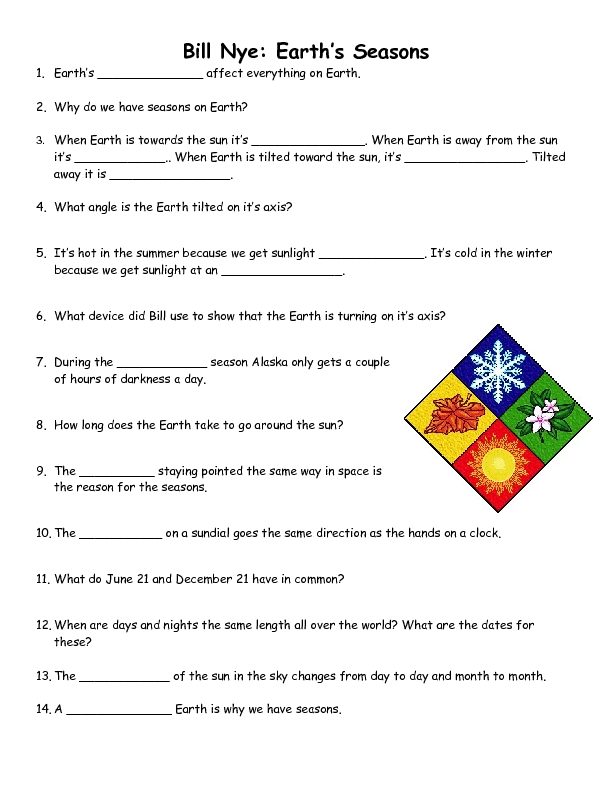 Earth Tilt Seasons Worksheet Worksheets for all | Download and ...