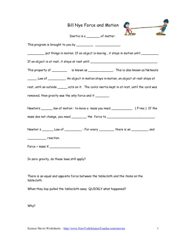 Worksheet Force And Motion Worksheets bill nye force and motion 5th 9th grade worksheet lesson planet