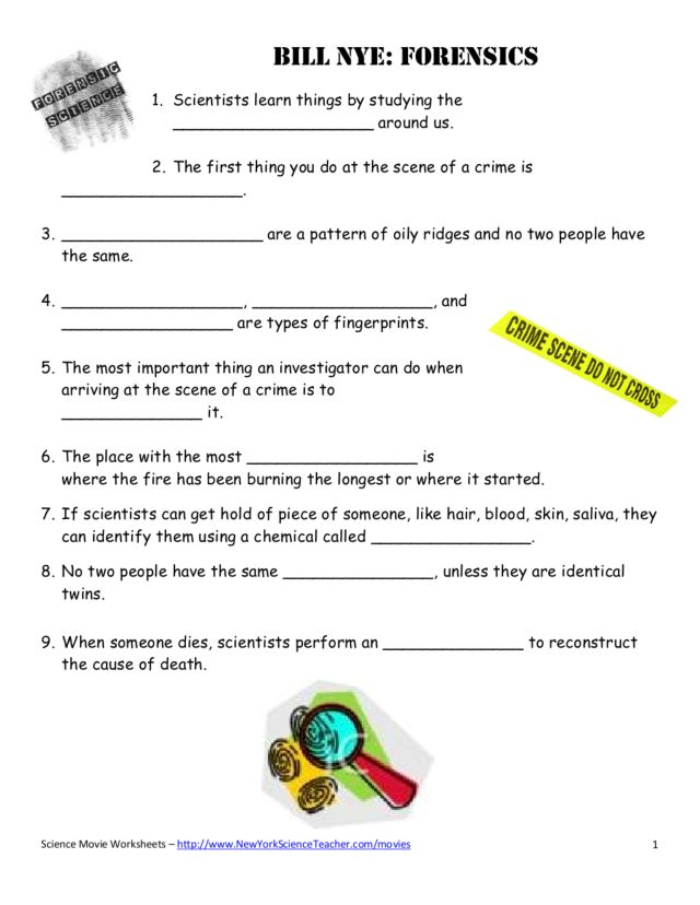 Printables Forensic Science Worksheets bill nye forensic science 8th grade worksheet lesson planet